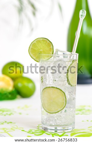 Gin and tonic with lime twist - stock photo