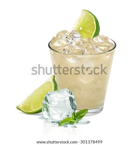 Gin fizz with lemon wedge and crushed ice in rocks glass isolated on white background - stock photo