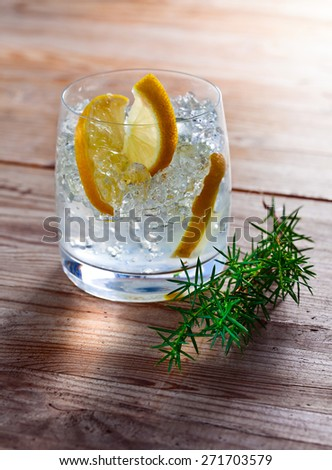 Gin with lemon and juniper branch on wooden table - stock photo