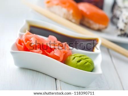 ginger and vasabi - stock photo