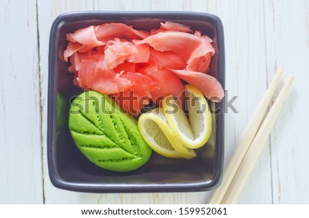 ginger and wasabi - stock photo