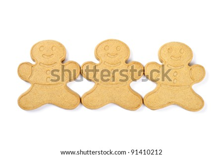 Ginger Boy Cookies Isolated on White
