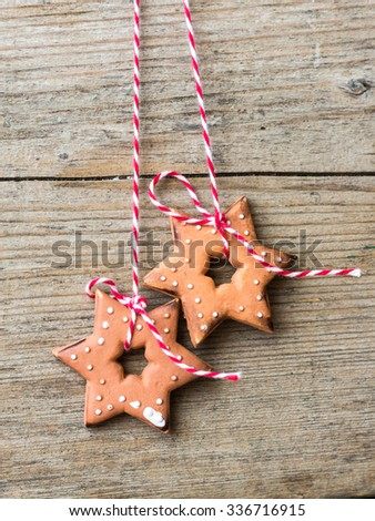 Ginger Bread Cookies in Shape of Stars,heart and Circles - stock photo