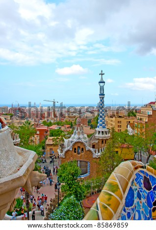 Ginger bread house designed by Gaudi in Park Guell, Barcelona - stock photo