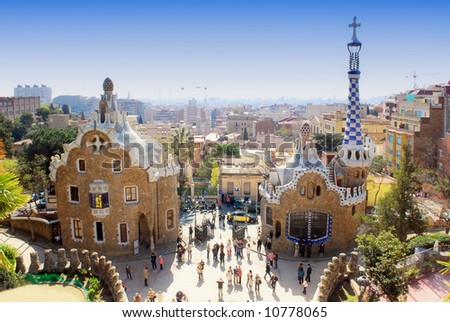 Ginger bread houses designed by Gaudi in Park Guell, Barcelona - stock photo