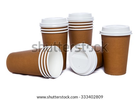 Ginger cardboard cups for hot and cold drinks  - stock photo