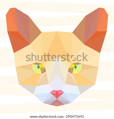 Ginger cat. Cat. Abstract cat.Polygonal cat. Geometric cat. Triangle cat. Abstract cat portrait. Cat. Graphic cat. Cat gaze. Cat close up. Isolated cat. Cat. Cat icon. Cat portrait. Cat. Raster copy - stock photo