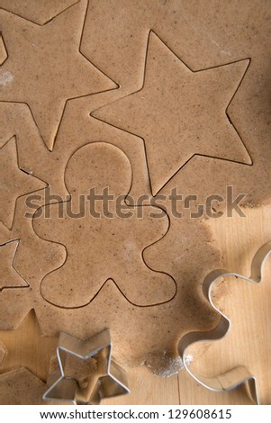 Ginger Cookies Dough With Ingredients and Star Cutters - stock photo