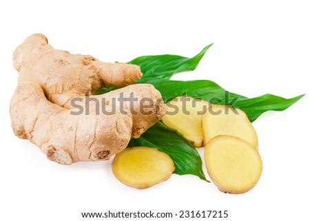 ginger fresh root spice - stock photo