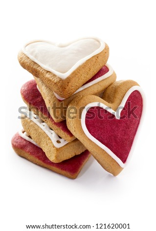 Ginger Heart shaped cookies for Valentine's Day. Isolated on white background - stock photo