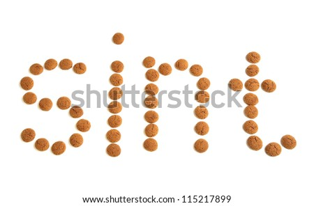 Ginger nuts or pepernoten, a traditional Dutch december sweet. - stock photo