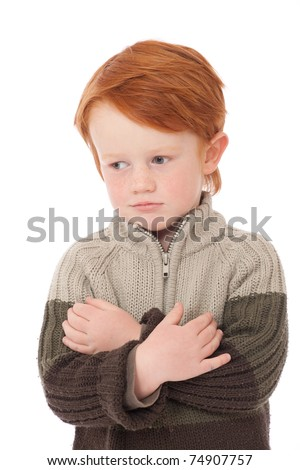 Ginger red hair haired boy smiling isolated on white