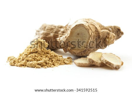 Ginger root and grained ginger isolated on white - stock photo