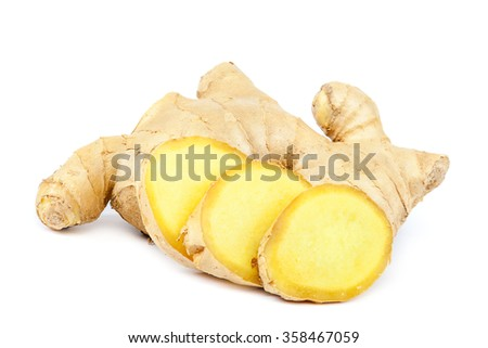 Ginger root isolated on white background. - stock photo
