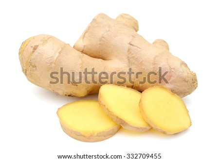 ginger root on white background  - stock photo