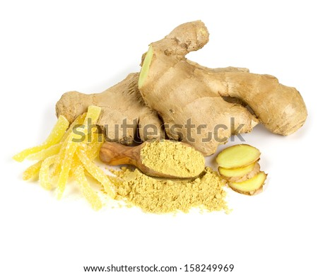 ginger root products isolated on white - stock photo
