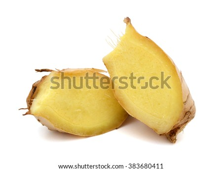 Ginger root with slices isolated on white  - stock photo