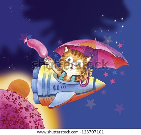 Ginger tabby cat travels in a rocket into space with sausage and umbrella. This is the cover, illustration for children story about cats adventure in the space. - stock photo