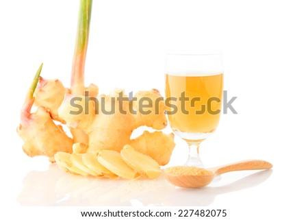 Ginger tea isolated on white. - stock photo
