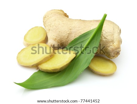 Ginger with leaves - stock photo