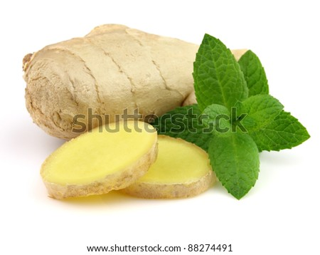 Ginger with mint in closeup - stock photo