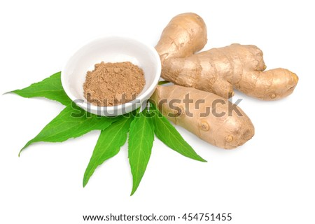 ginger with powder isolated on white background cutout.