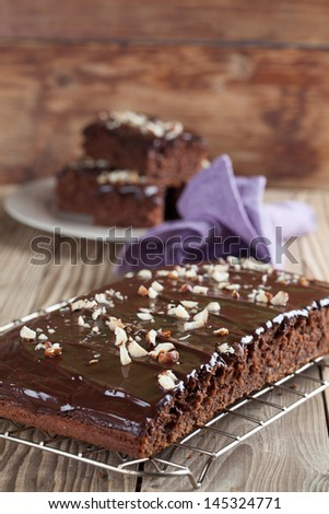 Gingerbread cake with chocolate and hazelnuts. Shallow dof