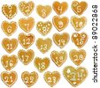 Gingerbread calendar; 24 decorated hearts - stock photo