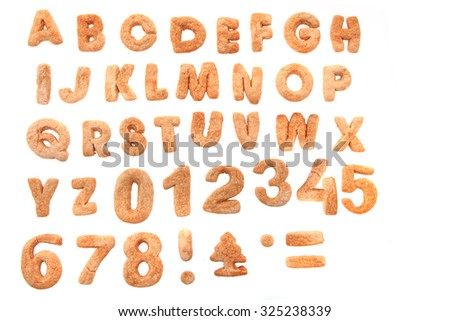 gingerbread christmas alphabet isolated on the white background - stock photo