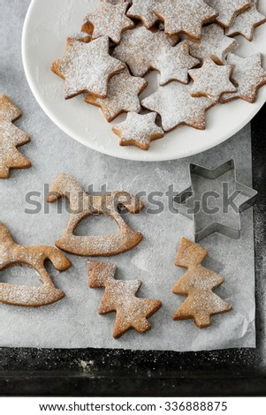 gingerbread christmas cookies on baking paper