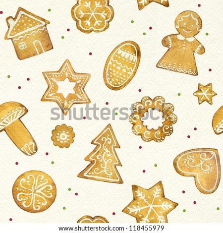 Gingerbread Christmas cookies seamless pattern - stock photo
