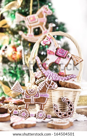 Gingerbread Christmas tree on background - stock photo