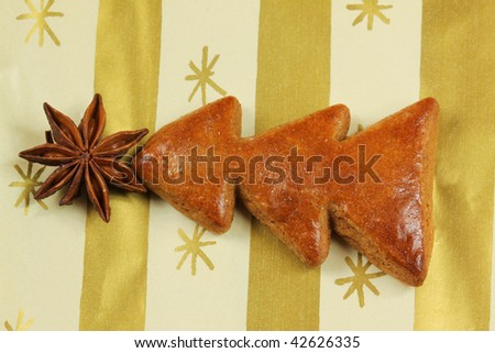 Gingerbread Christmas tree with aniseed star - stock photo