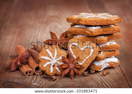 gingerbread, cinnamon sticks and star anise. - stock photo