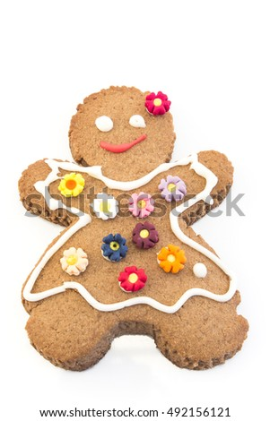 Gingerbread Cookie Woman Isolated on White.