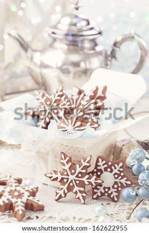 Gingerbread cookies and christmas decoration - stock photo