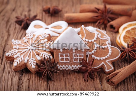 Gingerbread cookies and spices - stock photo