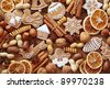 Gingerbread cookies and spices close up - stock photo