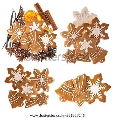 gingerbread cookies and spices isolated on white background. christmas food ingredients. cinnamon sticks, star anise, vanilla and cloves - stock photo