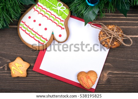 Gingerbread, cookies, Christmas balls, place for text