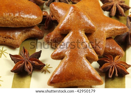 Gingerbread cookies Christmas tree with whole aniseed stars  Christmas decoration - stock photo