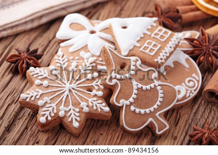 Gingerbread cookies in gift box - stock photo