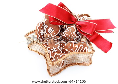 gingerbread cookies on white background - sweet food