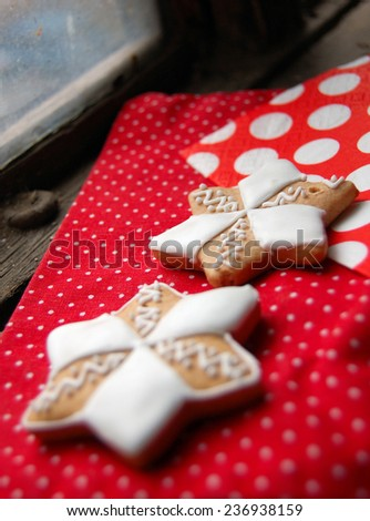 gingerbread cookies on wooden table