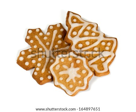 gingerbread cookies over white