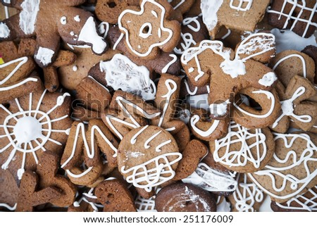 Gingerbread cookies with icing. Homemade cakes. Christmas food - stock photo