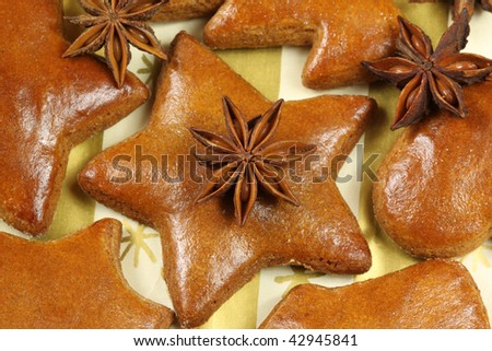 Gingerbread cookies with whole anise stars - Christmas decoration - stock photo