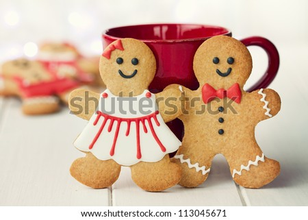 Gingerbread couple - stock photo