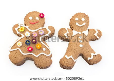 Gingerbread Couple Cookies on White Background.