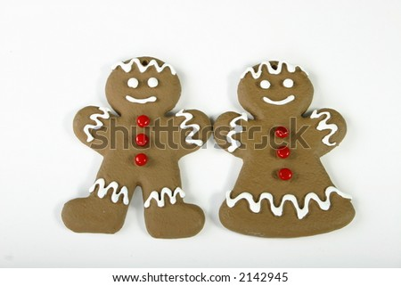 Gingerbread couple on white space